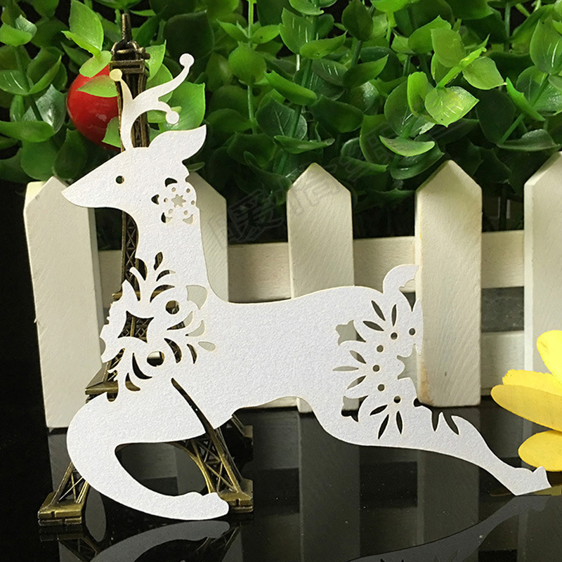 10 Colors Christmas Deer Laser Cut Paper Place Card  Escort Card  Cup Card Wine Glass Card For Wedding Xmas Christmas Favors