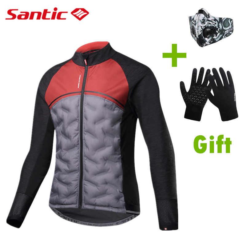 Santic 2019 Winter Keep Warm Cycling Jacket Ultralight Down Cotton Jackets  Coat Men Windproof Thermal Fleece b1f28c12e