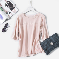 2017 Spring New Arrive High Quality Customed 100 Silk Office Lady Blouse Half Long Sleeved T