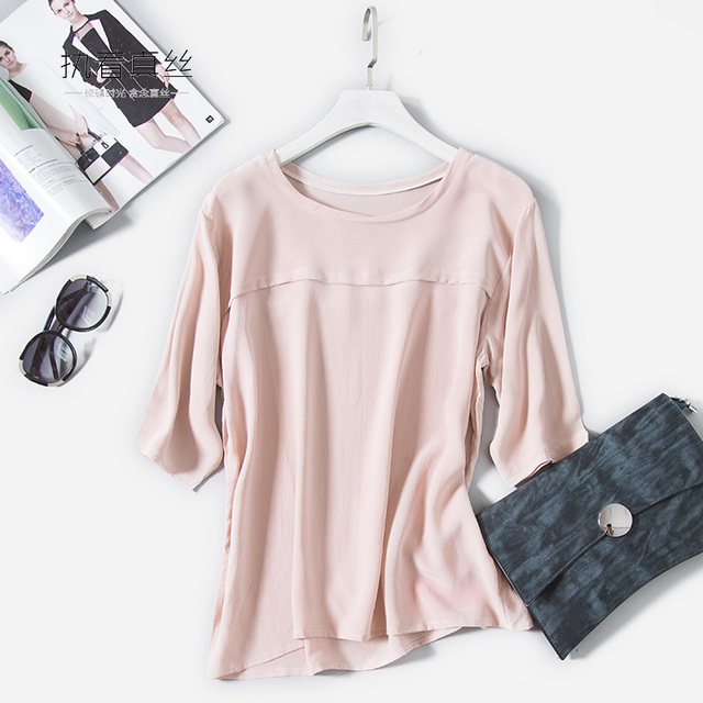 2018 spring new arrive high quality 100% silk office lady blouse half long sleeved