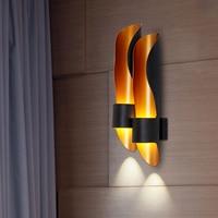 Nordic стены прихожей свет лампы Золотая роскошь Креативный дизайн освещения один/двойная труба спальня прикроватные огни
