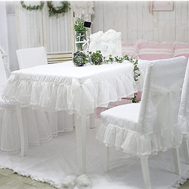 New Custom Fresh White Lace Skirt Tablecloth Elegant Table Cloth For Wedding Decorative Round Bedroom