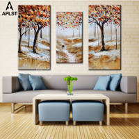 Hand Painted Canvas Painting Art Landscape Knife Painting Autumn Scenery Oil Painting for Wall Decor Set of 3 (No frame )