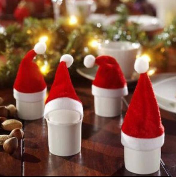 500pcs santa hat bottle cover tophat christmas hats bottle cap sets christmas party table party decoration - Top Hat Christmas Decorations
