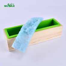 Loaf soap mold  handmade flower shape silicone mould with wooden box