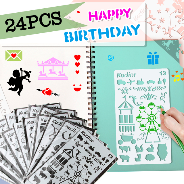 US $19 98 |24PCS Bullet Journal Supplies Plastic Planner Stencils  Journal/Notebook/Diary DIY Drawing Template Stencil 4x7 Inch-in Drawing  Toys from