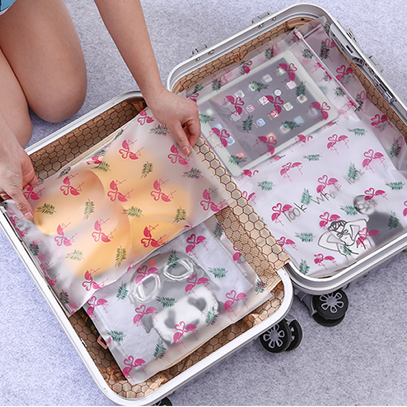 5pcs Travel Accessories Transparent Packing Organizers Cute Flamingos Cosmetic Bag Bath Storage Pouch Toiletry Makeup Bag