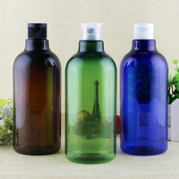 2/10pcs 500ml big capacity blue green brown PET plastic empty cosmetic packaging bottles with flip screw cap lid lotion shampoo