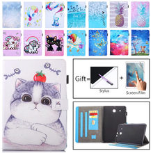 Tablet Case For Samsung Galaxy Tab E 9.6 2016 SM-T560 T561 SM-T561 T560 Smart Cover Funda Cartoon Cat PU Leather Skin+Film+Pen