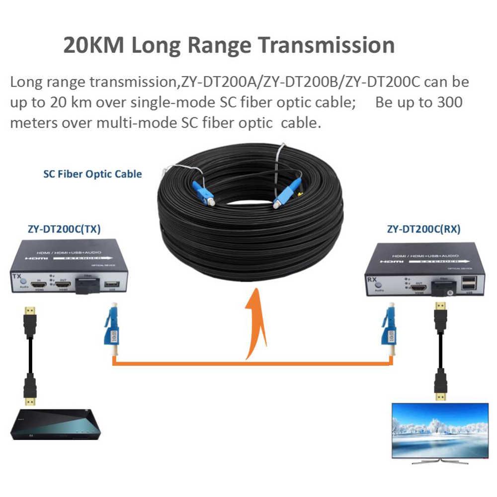 高品質 Hdmi エクステンダー繊維 20 キロの Hdmi 光ファイバメディアコンバータ KVM USB2.0 とループアウト 1080 1080P HDMI ファイバ上で