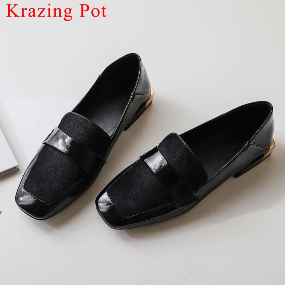 Comfort Pumps Dating-Shoes Toe-Dress Square Vintage Plus-Size Genuine-Leather Horsehair