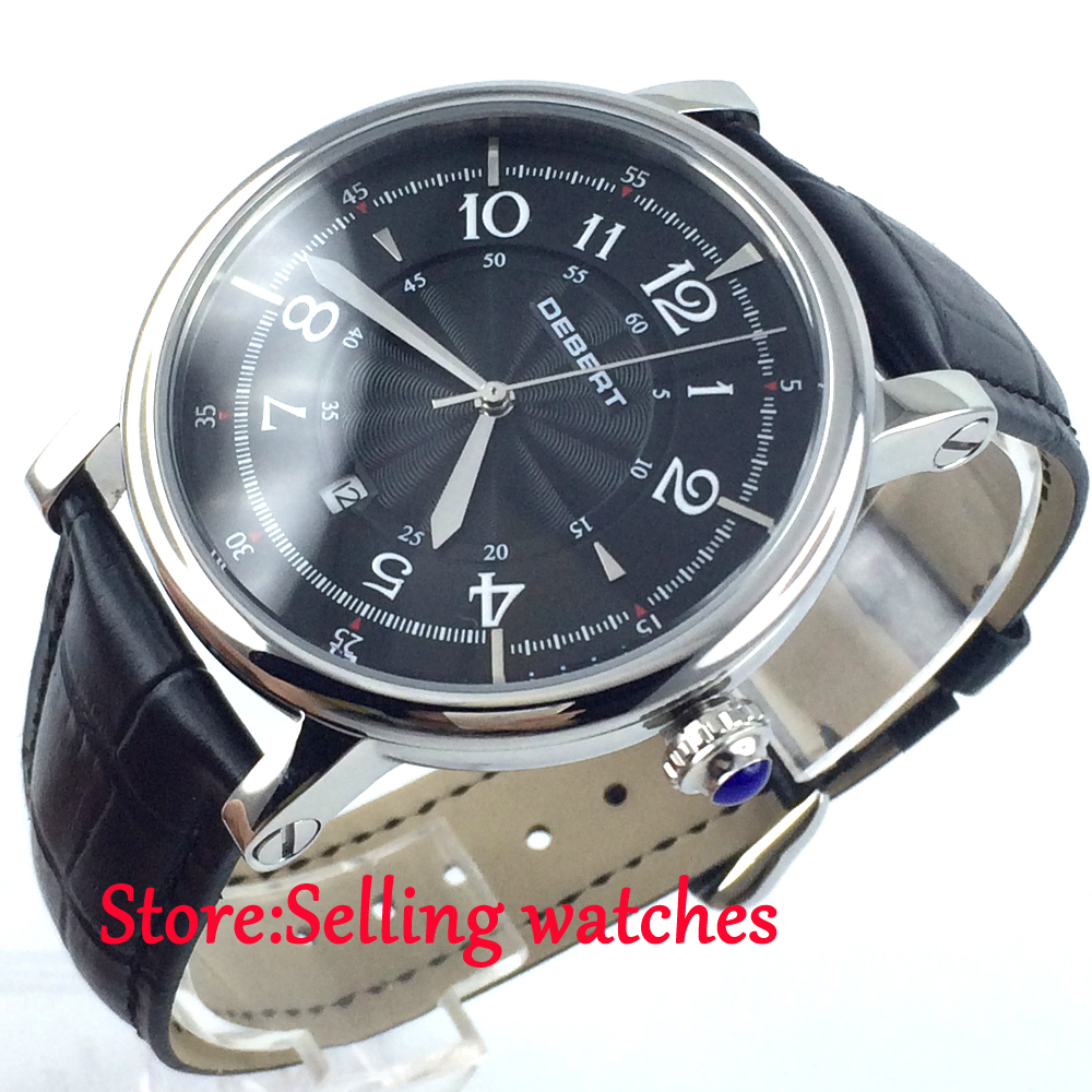 43mm Debert Black dial  leather strap miyota Automatic movement mens Watch мебель трия фиджи гн 153 003