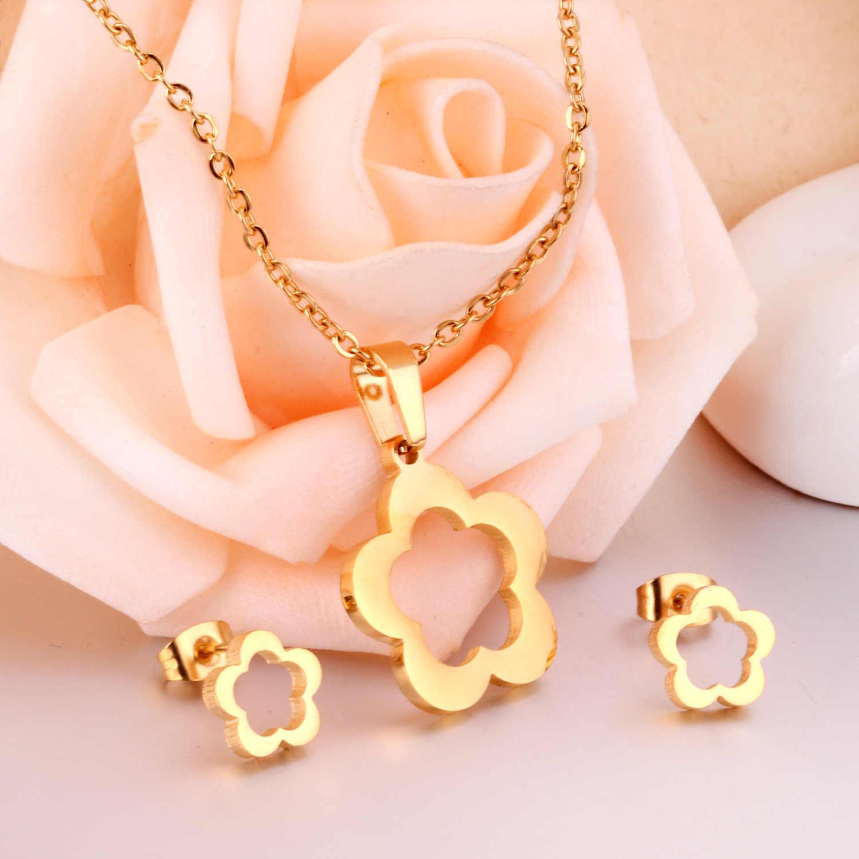 LUXUKISSKIDS Blume Hochzeit Dubai Afrikanischen Schmuck Set Gold Anhänger Halskette Ohrringe Für Frauen Edelstahl Schmuck Sets
