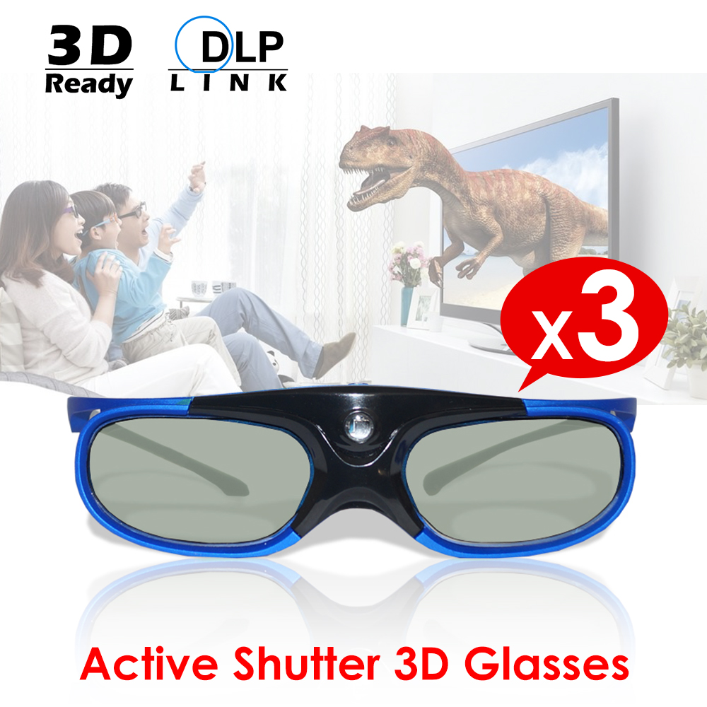 3PCS/Lot Active Shutter DLP Link 3D Glasses USB Rechargeable 3D Ready Universal For DLP Link Projector Home Cinema Optama/Acer3PCS/Lot Active Shutter DLP Link 3D Glasses USB Rechargeable 3D Ready Universal For DLP Link Projector Home Cinema Optama/Acer