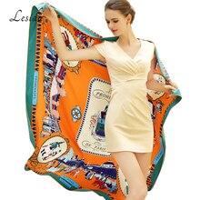 2020 Vintage Lụa Vuông In Hình Chủ Đề Bandanas Cho Nữ Cao Cấp Thương Hiệu Khăn Choàng Pashmina Khăn Choàng Dây Chéo Lụa Dây Sỉ 130*130cm