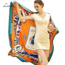 2020 Vintage Square Silk Printed Bandanas for Women Luxury Brand Pashmina Scarf Shawl Twill Silk Bandana Wholesale 130*130cm