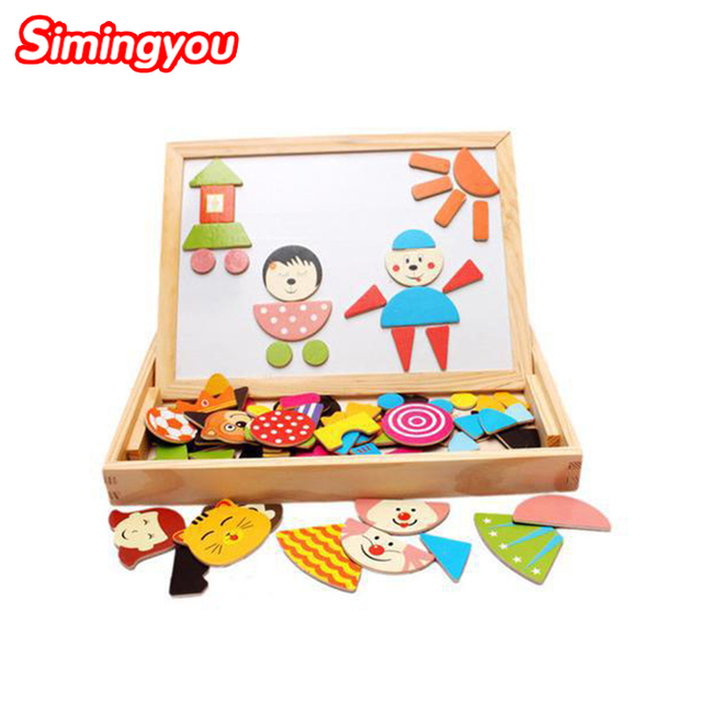 Simingyou Puzzles For Children Multifunctional Wooden Pepole Magnetic Puzzle Drawing Board Learning & Education Toys Hobbies