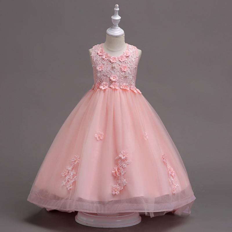 High-Grade Summer Girls Flower Wedding Girls Dress Kids Baby Long Trailing Elegant Princess Dress Party Children Formal Clothing girls champagne short front long back flower girl dress for wedding trailing formal party vestidos girls clothes 2017 skf154024