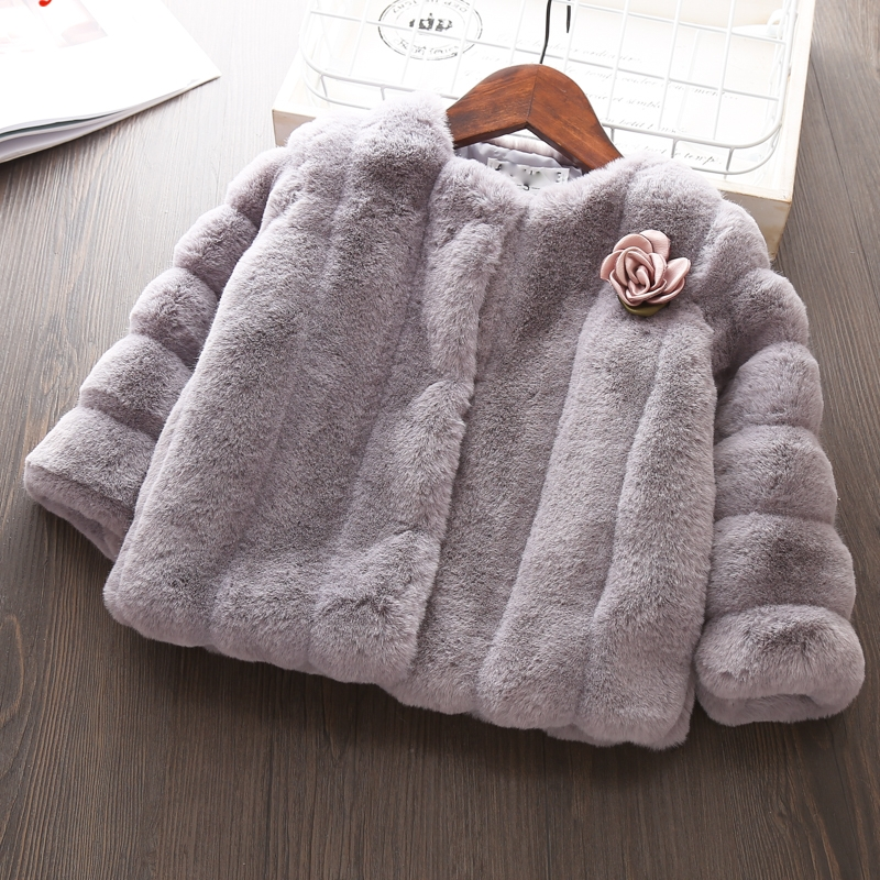Babyinstar Girls Fur Coat 2018 New Winter Warm Outwear Fashion Children's Clothing with Flower Kids Girls Jacket Coat