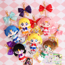 Cute Girls Gift Sailor Moon Harajuku Keychain Cardcaptor Sakura plush doll KeyChain for Women key Bag