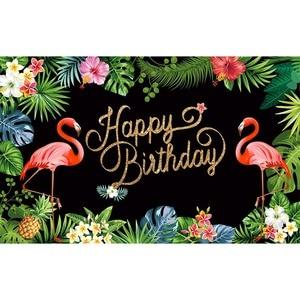 Image 2 - Allenjoy photographie toile de fond flamant tropical forêt tropicale anniversaire personnalisé tableau noir imprimante photo design original