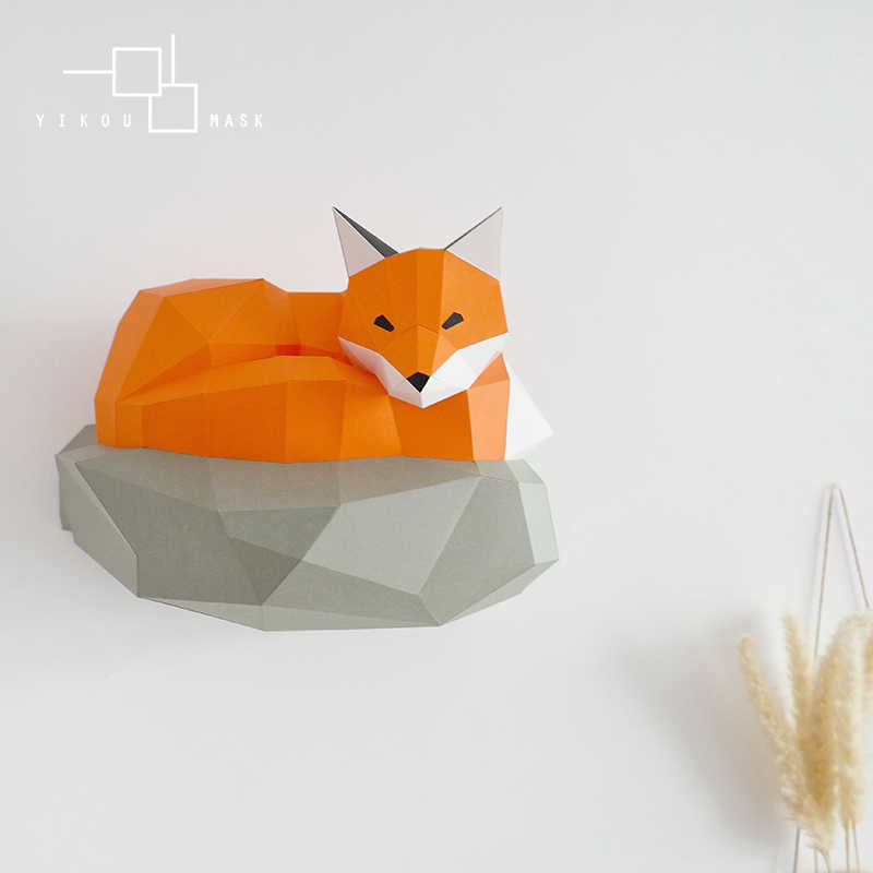 Creative Home Decoration Pop Wind Stereo Paper Craft Fox Animal Cartoon Wall Decoration Handmade Diy Net Red Wall Hanging ins