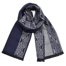 Chinese Style Blue And White Porcelain Pattern Scarf For Men Fashion Cotton Winter Warm Thick Brand Scarves With Tassels цена