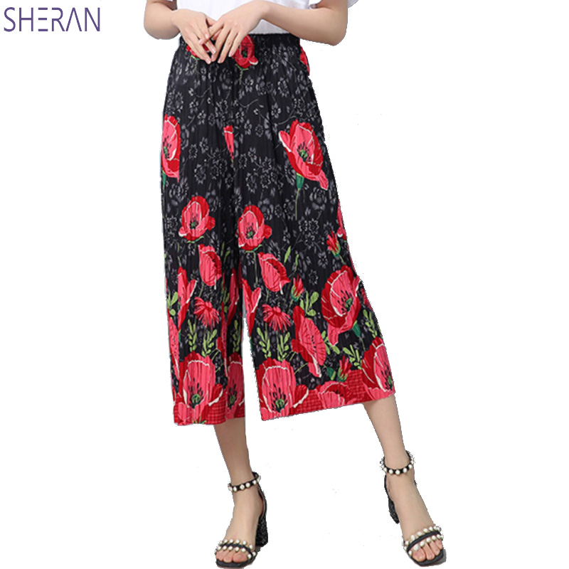 SHERAN National wind   wide     leg     pants   female 2018 new loose plus size high waist casual   pants   printed flower summer fashion women