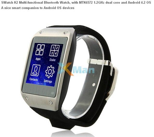 6e747521a51 Original SWatch K2 inteligente relógio Bluetooth MTK6572 Dual Core 1.54  polegada tela Android 4.2 Camera WIFI