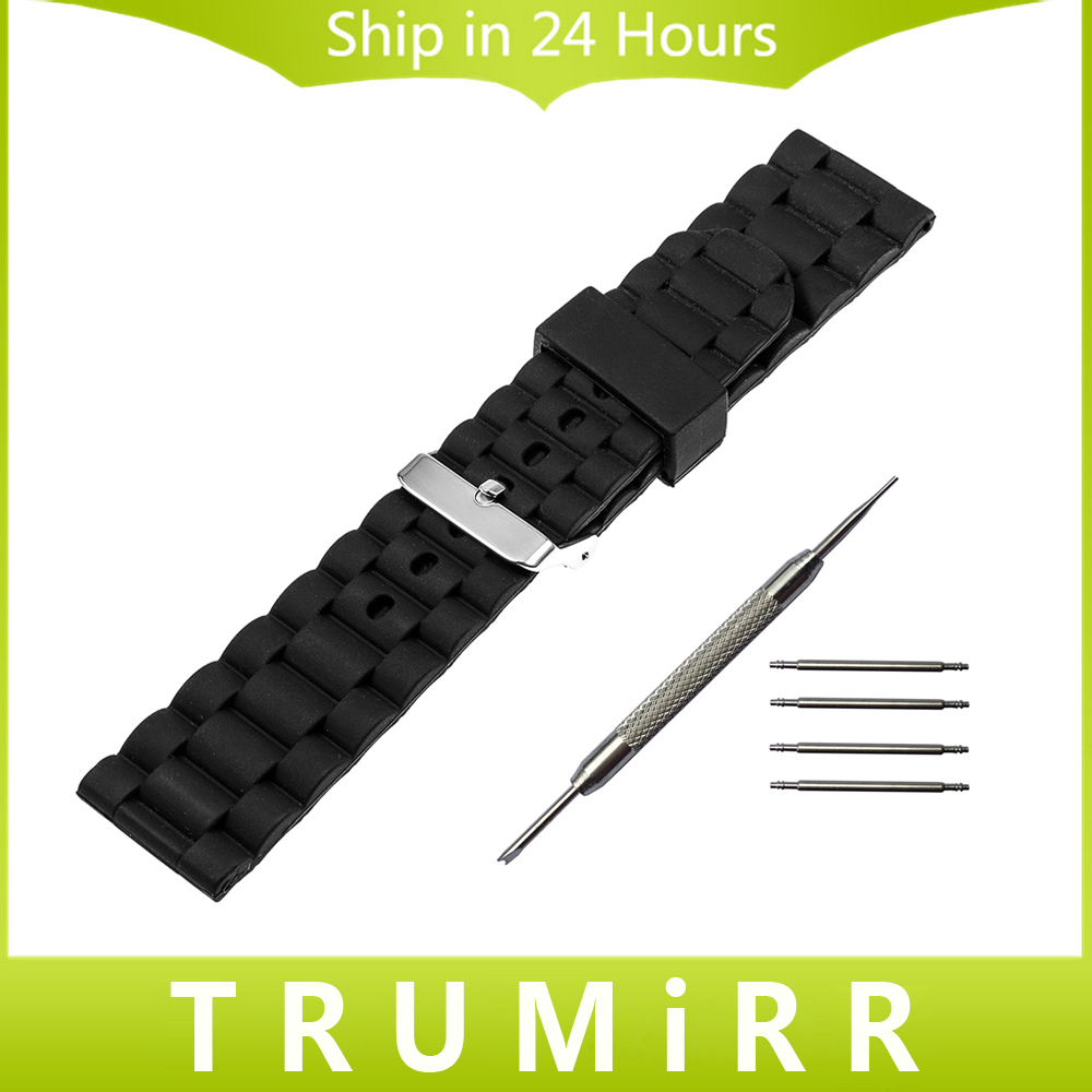22mm Silicone Rubber Watch Band Bracelet Strap for ASUS Zenwatch 1 2 LG G Watch W100 / R W110 / Urbane W150 Pebble Time Black 22mm stainless steel watch band smartwatch strap bracelet for lg g watch w100 w110 urbane w150 asus zenwatch 2 pebble time steel