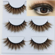 NEW 3D Mink Color False Eyelashes brown Cross Long Natural Fake Eyelashes Stage Show Makeup Thick Eye Lashes