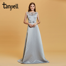 Tanpell lace sequins evening dress silver scoop neck floor length a line gown women sleeveless formal party long evening dresses purple sequins embellished lacerna scoop neck dresses