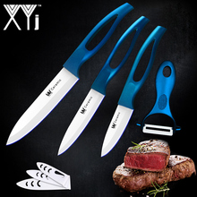 Blue Hollow Handle Kitchen Knives 3, 4, 5 Inch + A Peeler High Grade Ceramic Knife 4 Pcs Set Hot Sale XYJ Brand Cooking Tools