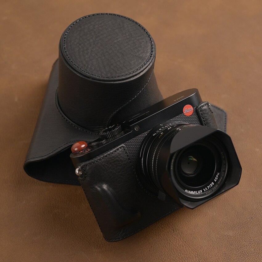 AYdgcam marque fait à la main en cuir véritable étui pour appareil photo peau pour Leica Q typ 116 conception de batterie ouverte-in Sacs pour appareil photo from Electronique    2