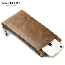 MANBERCE Brand Men Large Capacity Wallet Fashion Women Purses Clutch Bag Cowhide Mens Wallet Leather Genuine Credit Card Holder