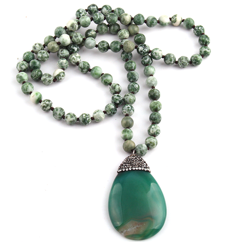 Free Shipping Fashion Long Knotted Stones Bohemian Tribal Jewelry Green Natural Stone Pendant Necklace