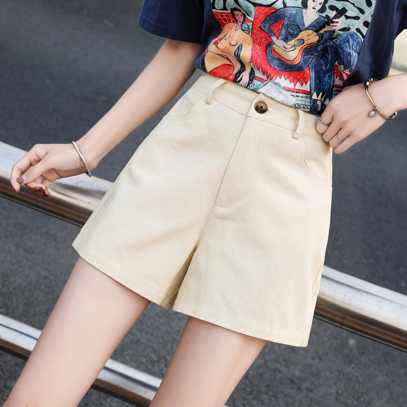 All-match 2 Solid Color Women   Shorts   2019 Summer Cotton Single Button Zipper With A Little Elastic Waist   Shorts   Streetwear