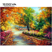 3D DIY Diamond Painting Cross Stitch Scenic Forest Byway Crystal Diamond Embroidery Needlework Full Diamond Set