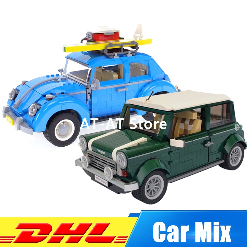 DHL LEPIN 21002 1108 PCS Cooper+LEPIN 21003 1193 PCS the Beetle Model Building Kits Set Clone 10252 10242 dhl free shipping lepin 21002 1108 pcs mini cooper model building kits blocks bricks toys compatible with 10242