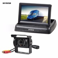 DIYSECUR Wired 4.3inch Foldable Rear View Monitor Car Monitor Waterproof CCD Reverse Backup IR Night Vision Bus Truck Camera