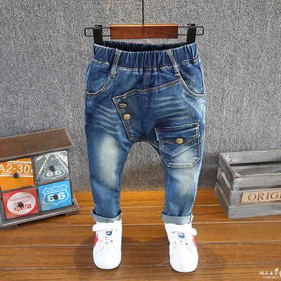 Marca crianças meninos calças de brim primavera e outono macio crianças bebê elástico na cintura dos desenhos animados algodão denim jeans para meninos meninas 2-6year