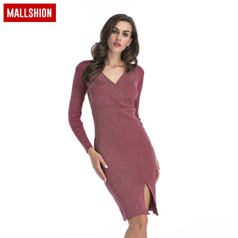 MALLSHION Women Sweater Knitted Dress 2018 Autumn V-neck Sexy Elegant Evening Party Long Sleeve Slim Fit Knitted Dresses вечернее платье elegant evening gowns 2015 vestido sexy long evening dress