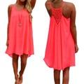 Плюс Размер 2017 Лето Dress Женщины Ремни Шифон Sexy Party Mini Dress Случайные Свободные Твердые Короткие Пляжные Платья Vestidos 7 цвет