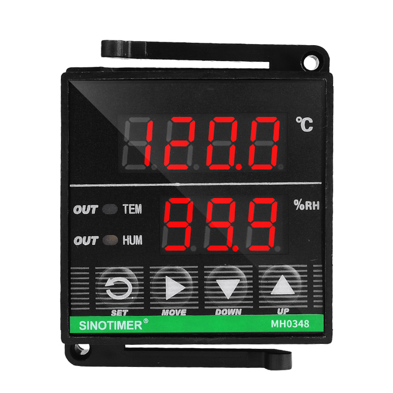 48 48mm Digital Temperature Humidity Controller Relay Output 110V 220V AC for Incubator Heat Cool Humidification