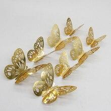 12 adet altın gümüş kelebek içi boş ayna 3D duvar çıkartmaları düğün DIY doğum günü ev dekor dekorasyon parti iyilik 62064