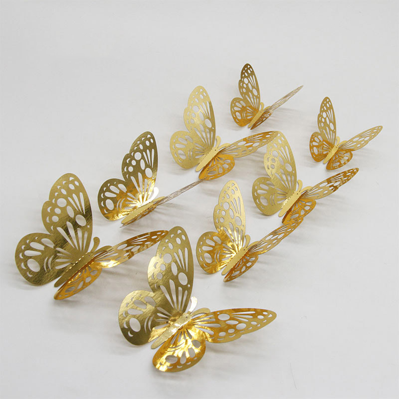 12pcs Gold Silver Butterfly Hollow Mirror 3D Wall Stickers Wedding DIY Birthday Home Decor Decoration Party Favors 62064