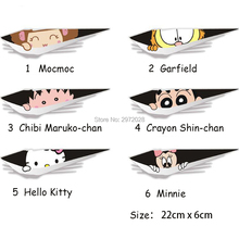 10 x Divertente Ciao Kitty Minnie Garfield Mocmoc Peering Auto flyers Auto Decal per Tesla Toyota Ford Chevrolet Volkswagen Kia Lada(China)