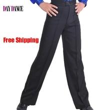 Профессиональные мужские черные брюки для латинских танцев, атласные брюки для мальчиков и взрослых, брюки для бальных танцев, сальсы, Танго, румбы, самбы, ча-ча, брюки для латинских танцев