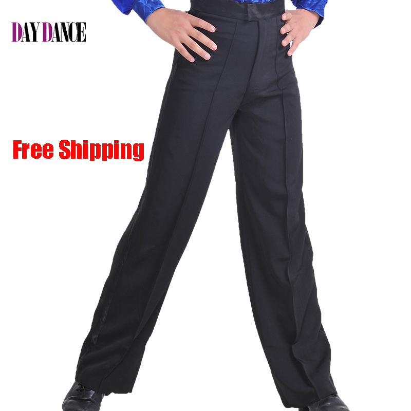 Professional Men Black Latin Dance Pants Boys  Satin Ballroom Dance Pants Salsa Tango Rumba Samba Cha Cha Latin Trousers