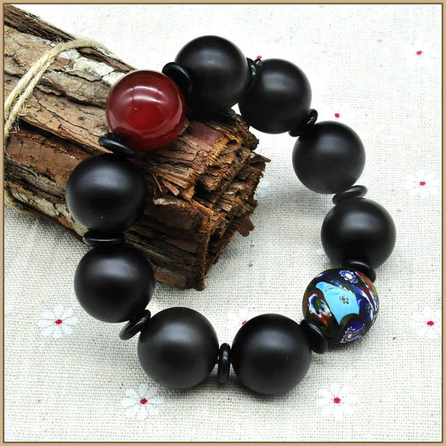 Yumten Black Agate Beads 20MM Red Agate Colorful Ball Strand Bracelets Long Stone And Crystal Jewellery Unisex bracelet Braclet